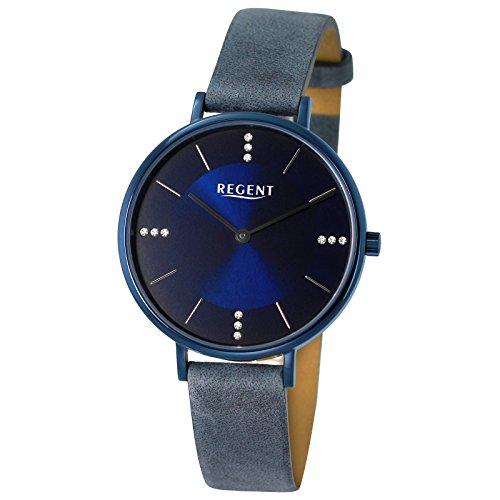 Regent Damen Armbanduhr Elegant Analog Leder Armband blau grau Quarz Uhr Ziffernblatt dunkelblau schwarz UR2153136