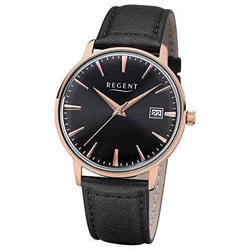 Regent Herren Elegant Analog Leder Armband schwarz Quarz Uhr Ziffernblatt schwarz UR1102489