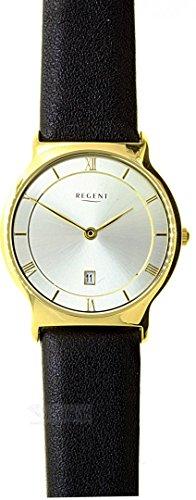 Regent flache Damenuhr vergoldet klassisch mit Lederband 7493 45 11