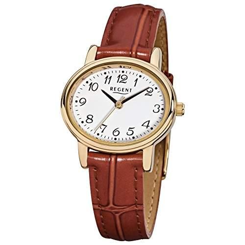 Regent Armbanduhr Damenuhren mit Lederarmband-Kollektion Damen-Uhr mit Leder-Armband braun analoges Quarzwerk D1URF577