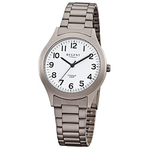 Regent Herren Armbanduhr Elegant Analog Titan Metall Armband grau silber Quarz Uhr Ziffernblatt weiss URF837