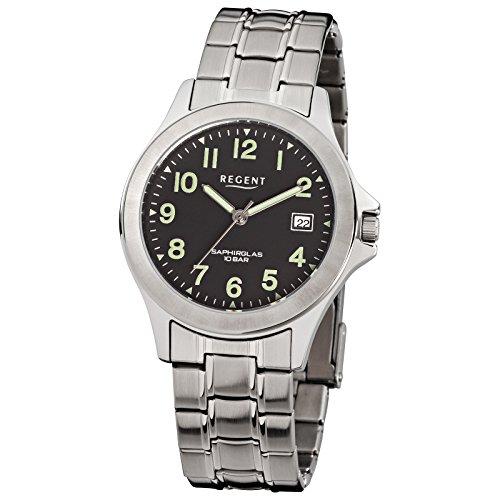 Regent Herren Armbanduhr Elegant Analog Edelstahl Armband silber Quarz Uhr Ziffernblatt schwarz URF116