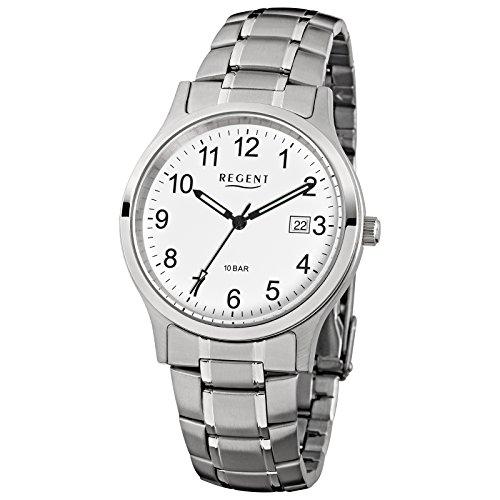 Regent Herren Armbanduhr Elegant Analog Edelstahl Armband silber grau Quarz Uhr Ziffernblatt weiss URF775