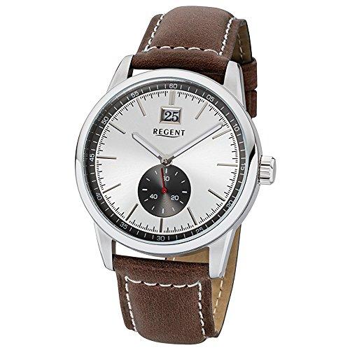 Regent Elegant Analog Leder Armband dunkelbraun Quarz Uhr Ziffernblatt silber schwarz URUM1606