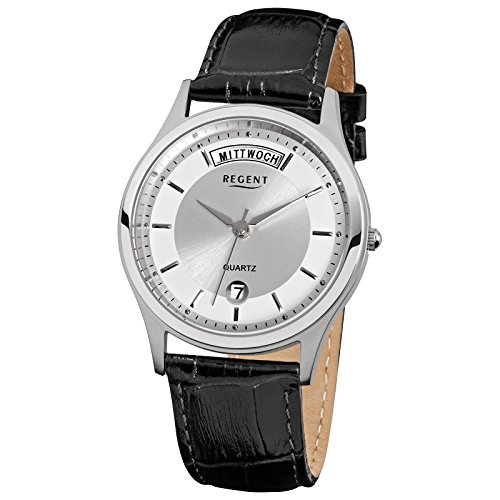 Regent Elegant Analog Leder Armband schwarz Quarz Uhr Ziffernblatt silber URF354