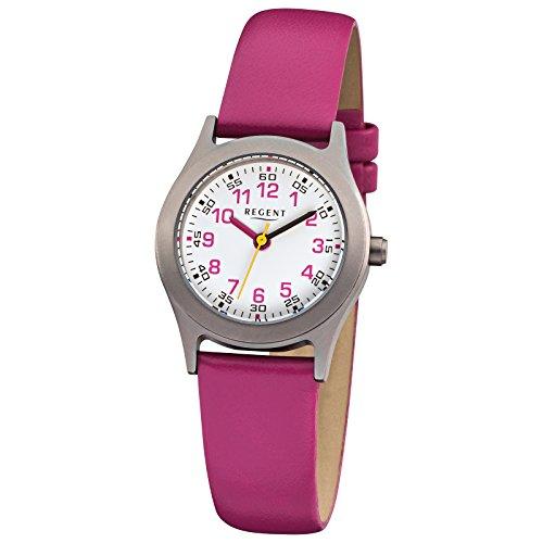 Regent Kinder Armbanduhr Elegant Analog Leder Armband pink Quarz Uhr Ziffernblatt weiss URF946