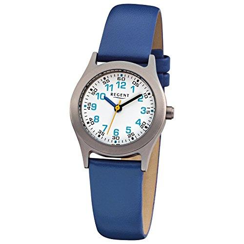Regent Kinder Armbanduhr Elegant Analog Leder Armband blau Quarz Uhr Ziffernblatt weiss URF947