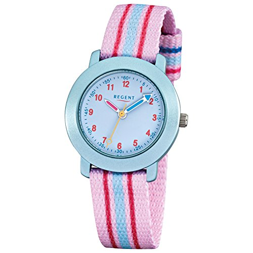 Regent Elegant Analog Textil Armband rosa blau Quarz Uhr Ziffernblatt blau URF954