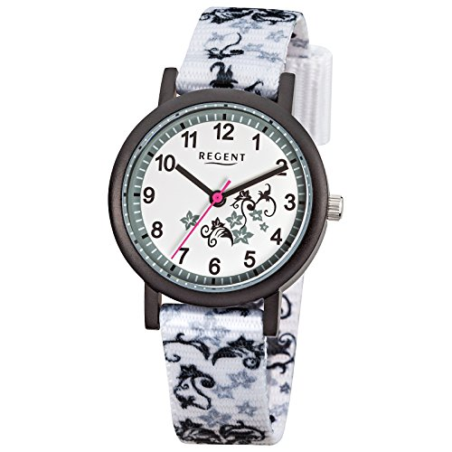 Regent Kinder Armbanduhr Elegant Analog Textil Armband weiss Quarz Uhr Ziffernblatt weiss URF728