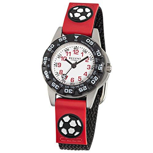 Regent Kinder Armbanduhr Elegant Analog Textil Armband schwarz rot Quarz Uhr Ziffernblatt weiss URF943