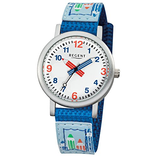 Regent Kinder Armbanduhr Elegant Analog Textil Armband blau Quarz Uhr Ziffernblatt weiss URF731