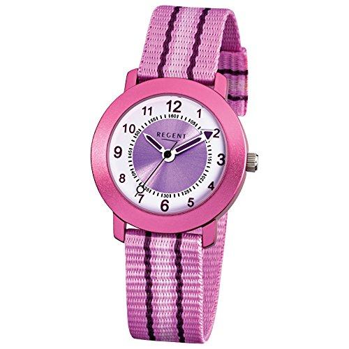 Regent Elegant Analog Textil Armband rosa Quarz Uhr Ziffernblatt weiss lila URF725