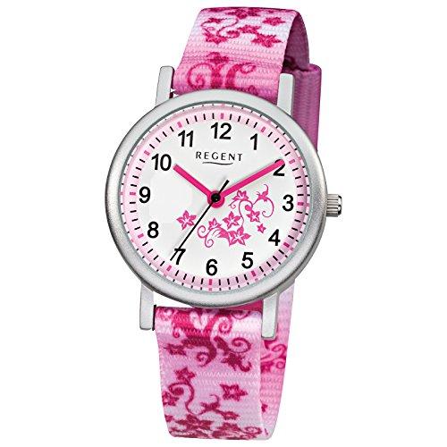 Regent Kinder Armbanduhr Elegant Analog Textil Armband rosa pink weiss Quarz Uhr Ziffernblatt weiss URF727