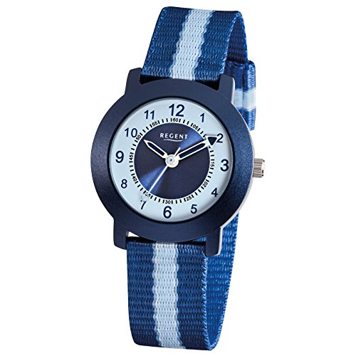 Regent Elegant Analog Textil Armband blau Quarz Uhr Ziffernblatt weiss blau URF726