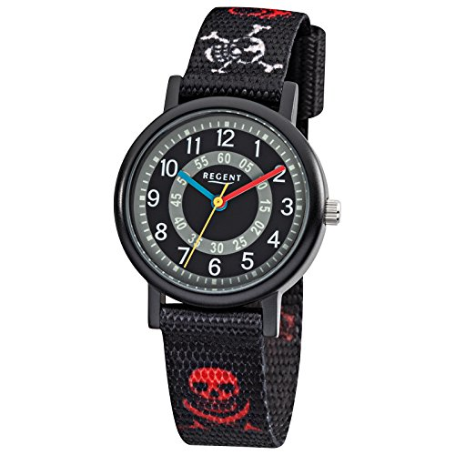 Regent Kinder Armbanduhr Elegant Analog Textil Armband schwarz rot weiss Quarz Uhr Ziffernblatt schwarz grau URF950