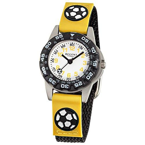 Regent Kinder Armbanduhr Fashion Analog Textil Armband schwarz gelb Quarz Uhr Ziffernblatt weiss URF944