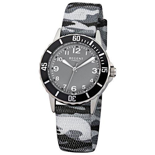 Regent Kinder Armbanduhr Elegant Analog Textil Armband grau schwarz camouflage Quarz Uhr Ziffernblatt schwarz URF941