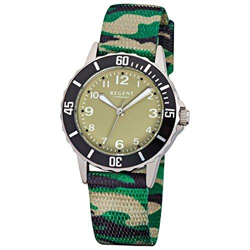 Regent Kinder Armbanduhr Fashion Analog Textil Armband gruen schwarz camouflage Quarz Uhr Ziffernblatt gruen URF938