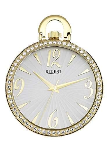 Regent - Ladys Fashion Strass Umhaengeuhr mit 2 Ketten - Quarz - Gold - P243