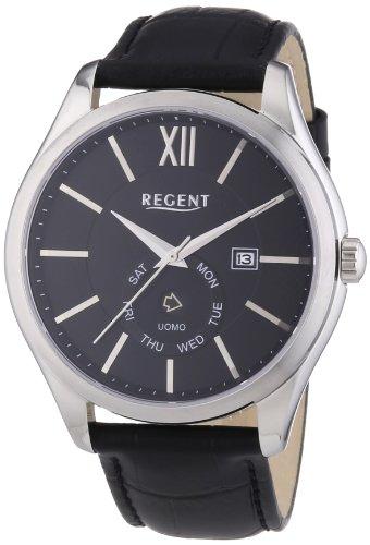 Regent Herren Armbanduhr XL Analog Quarz Leder 11110652