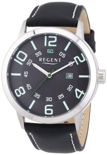 Regent Herren Armbanduhr XL Analog Quarz Leder 11110659