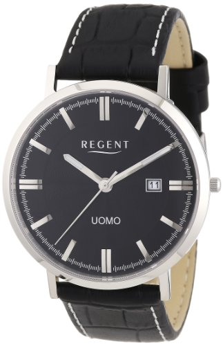 Regent Herren Armbanduhr XL Uomo Analog Quarz Leder 11110618