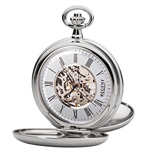 Regent Taschenuhr Mechanisch Silber Skelett P93