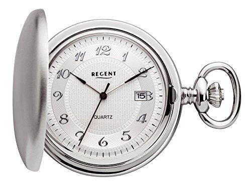 Regent Taschenuhr Quarz Silber Datum P13