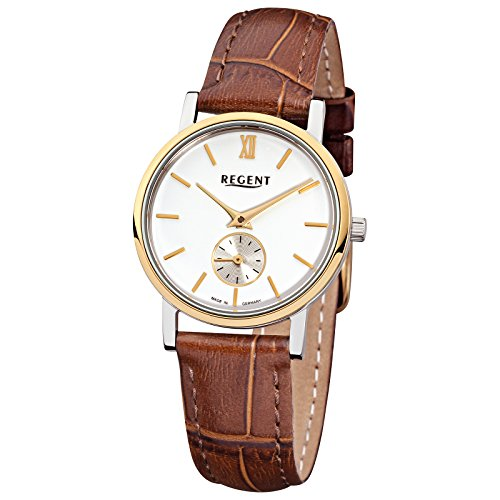 Damen Uhr Analog Regent Saphirglas Leder Armband braun Quarzwerk Elegant Damen Uhr D2URGM1450