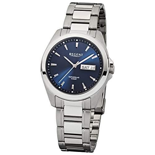 Regent Herren-Armbanduhr Elegant Analog Edelstahl-Armband silber Quarz-Uhr Ziffernblatt dunkelblau URF526