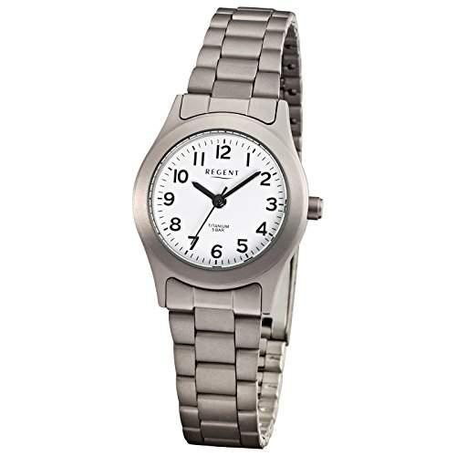 Regent Damen-Armbanduhr Elegant Analog Titan Metall-Armband grau silber Quarz-Uhr Ziffernblatt weiss URF855