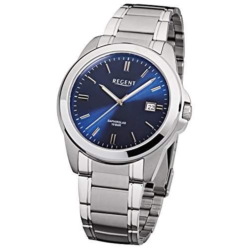 Regent Herren-Armbanduhr Elegant Analog Edelstahl-Armband silber Quarz-Uhr Ziffernblatt dunkelblau URF922