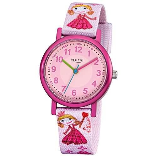 Regent Kinder-Armbanduhr Fashion Analog Textil-Armband rosa Quarz-Uhr Ziffernblatt rosa URF949