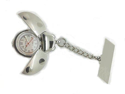 nurh Uhr Krankenschwester Marienkaefer Silber Bewegung und Bateria Japanisch Lederbeschichtung Gravur Ohne Kosten sein lassen kann Nachricht an Verkaeufer