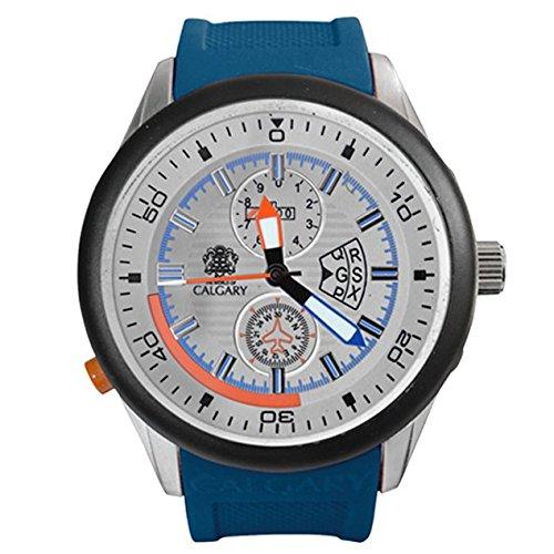 Calgary Daikoku Prix Abenteuersammlung mit Armband aus blauem Gummi Zifferblatt in Grau mit Details in Orange und Blau
