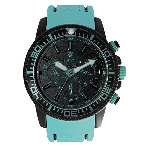 Uhren Calgary Mazzini depotivo Uhr fuer Frauen Silikon Tuerkis Armband schwarzes Zifferblatt