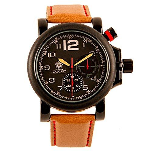 Uhren Calgary Arizona Valley Uhr fuer Gentleman Sammlung Abenteuer schwarzes Zifferblatt braun Armband