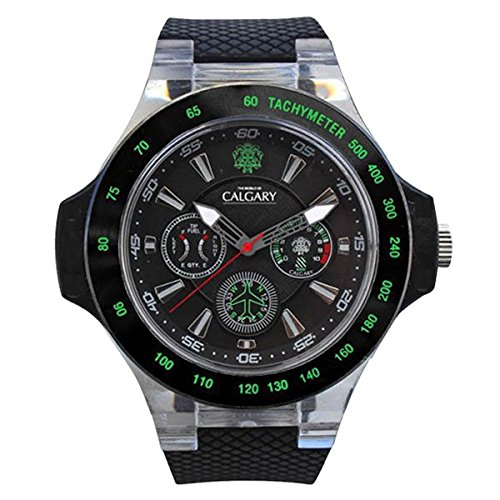 Uhren Calgary Hudson Track Kautschuk Armband Schwarz Zifferblatt schwarz und gruen