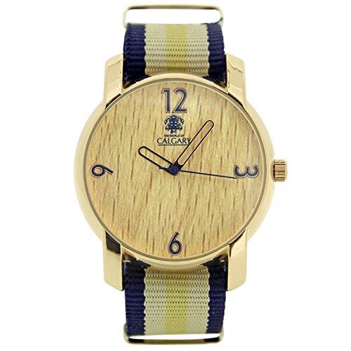 Uhren Calgary Wild Wood Kollektion Peace Love Uhr Vintage Damen Armband Stoff blau und beige strukturiert in Holz und Rand Gold Zifferblatt