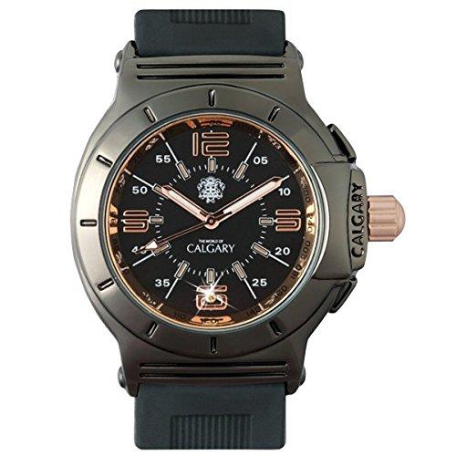 Uhren Calgary Richmond Hill Klassische Uhr fuer Damen Gold und schwarzes Zifferblatt und Armband Farbe Schwarz