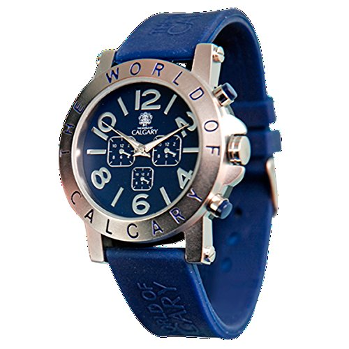 Calgary Riomaggiore Blue Sportuhr fuer Damen blaues Silikonband Zifferblatt blau und silberfarben