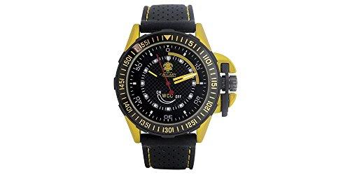 Uhren Calgary GP Racing Yellow Sportuhren fuer Herren schwarzes Kautschuk Schwarz und Gelb Zifferblatt