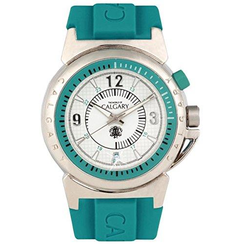 Relojes Calgary MONTEROSSO Blue Time Armbanduhr Gummi Klassische fuer Damen mit Zifferblatt Silber weiss und blauen Details Tuerkis
