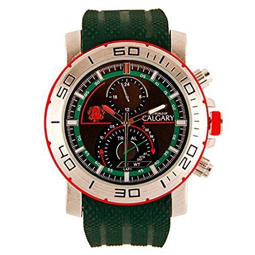 Relojes Calgary Marine Team Militaerische Sport Armbanduhr fuer Herren gruenes Armband Zifferblatt Gruen und silberfarben