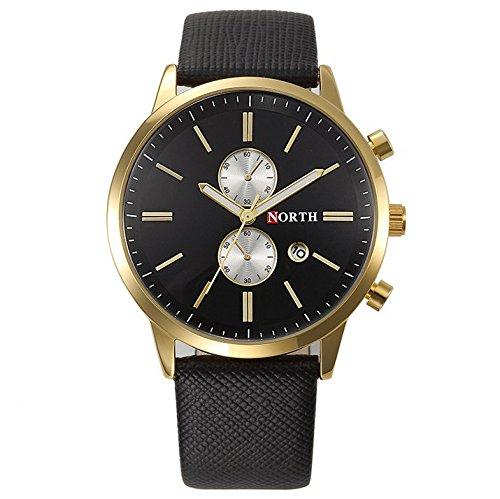 North Chronograph Datumsanzeige Leder Quarz gold schwarz