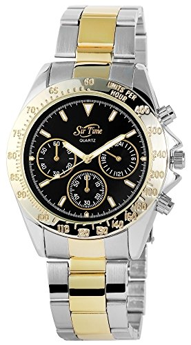 Herren mit Quarzwerk 281311000001 und Metallgehaeuse mit Edelstahl Armband in mehrfarbig und Faltschliesse Ziffernblattfarbe schwarz Bandgesamtlaenge 21 cm Armbandbreite 22 mm
