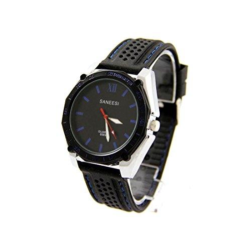 Herren Fashion Armbanduhr Silikon schwarz SANEESI 528