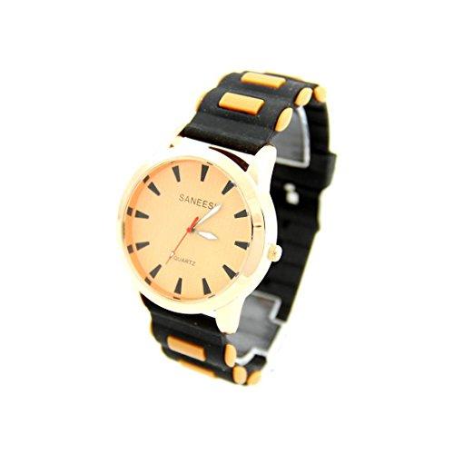 Grosse Armbanduhr Silikon schwarz SANEESI 372