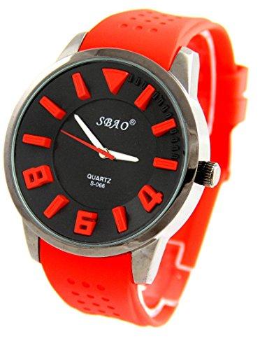 Grosse zeigt Herren Armband Silikon Rot sbao 66
