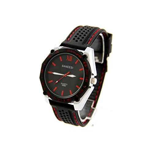 Herren Moderne Armbanduhr Silikon schwarz SANEESI 891